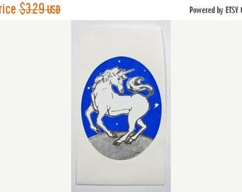 SALE Unicorn Vintage 80's Rare Silver Metallic Embossed Sticker