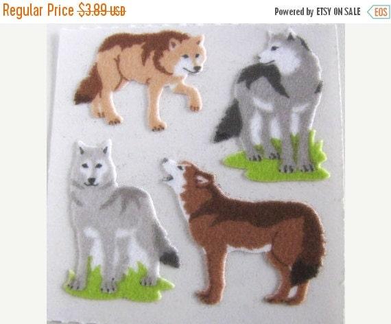 ON SALE Vintage Sandylion Fuzzy Wolves Sticker Mod