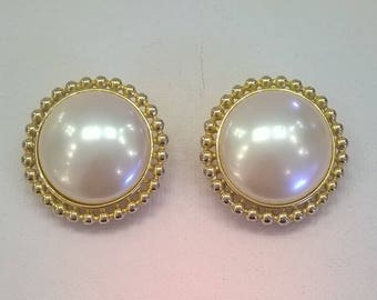 Vintage Round Earrings with Faux White Pearl Center and Gold Metal Rims - Large Clip On Earrings