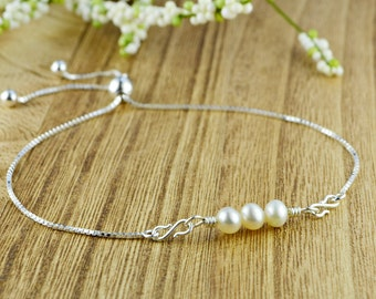 Three Freshwater Pearls Adjustable Sterling Silver Interchangeable Charm/Link Bolo Bracelet- Charm, Bracelet Chain, or Both