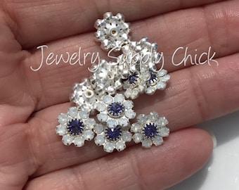 White Opal & Tanzanite Swarovski crystal flower (x6+)