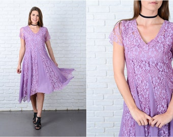 Vintage 90s Purple Lace Grunge Dress Full Floral Sheer Slv Medium M 9072
