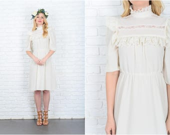 Vintage 70s Cream + White boho Victorian Dress Sheer Floral Lace Cutout Puff Slv 9351
