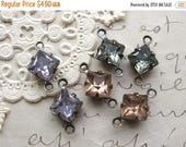 SALE YOU CHOOSE 6mm Square Rhinestone Connectors Prong Set 2-Loop Brass Ox Findings (6)