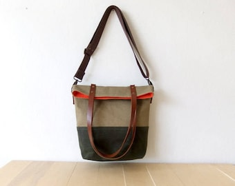 Mothers Day Gift - Waterproof Foldover Bag - Convertible Tote - Waxed Canvas Base - Cotton Adjustable Strap - Leather Handles -Orange Lining