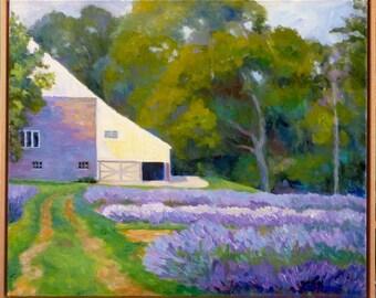 Lavender Field Large Framed Original Oil Painting on Canvas