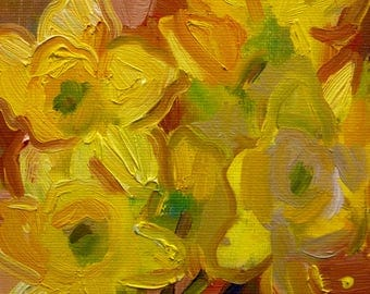 Daffodils in Yellow Small Original Oil Painting on Canvas