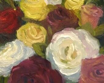 Small Still Life Original Oil Painting Roses