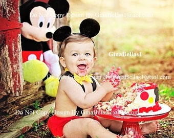 Mickey Mouse Birthday cake smash outfit FREE Ears Suspenders diaper Cover bow tie clubhouse baby shower gift costume 6 9 12 18 24 2 toddler