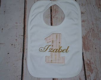 Baby 1st Birthday Bib Pink and Gold , Monogrammed ,Smash Cake Bib