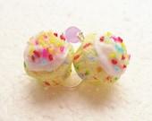 Confetti/ Funfetti Cupcake Earrings. Polymer Clay.