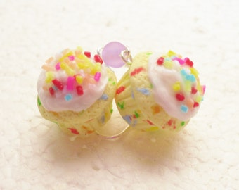 Confetti/ Funfetti Cupcake Earrings. Polymer Clay.