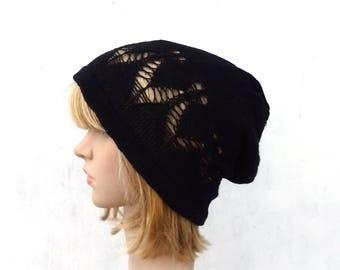 Knit linen hat, knitted summer beanie, natural linen slouchy, knitting lace hat, women men tam, black hat, flax sun hat, accessories