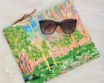 Watercolor clutch | fold over clutch