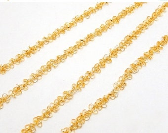 10% off Holiday SALE Gold Over Sterling Silver Chain- Gold Dangle Chain links -- 1 FOOT