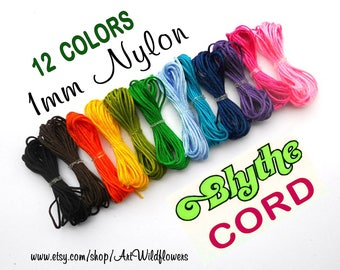 Blythe Doll Repair Cord, 12 Color Set, Blythe Pull String, 1mm Nylon Cording