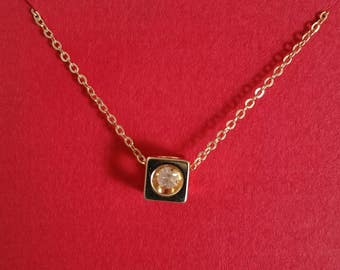 Encased Crystal Cube Pendant Necklace