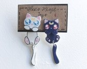 Luna and Artemis Cats Fake Gauge Clinging Earrings