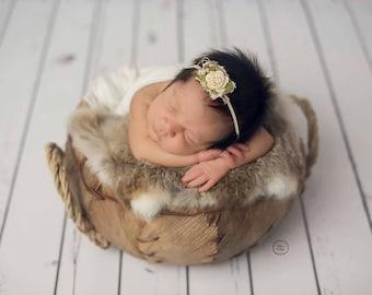 Ivory Vintage Baby Headband, Newborn Headband, Baby Girl Headband, Photo Prop, Floral Headband, Baby Headband, Ivory Headband