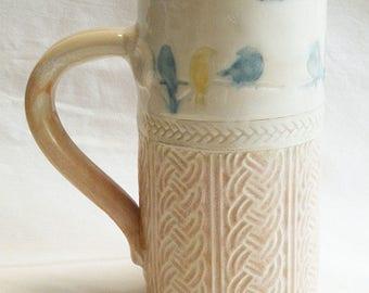 birds on a branch ceramic coffee mug 20oz stoneware 20D045