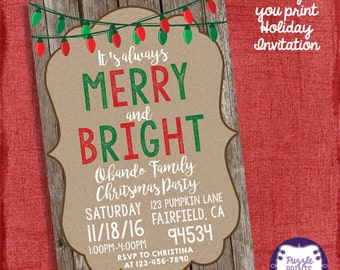 Holiday Christmas Party Invitation- Rustic Holiday Party Invitation- Christmas Party-I design you print