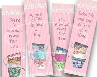 Printable Pink Tea Bookmark, Tea Party Favor, Digital Bookmarks, diy Bookmark, Tea party Gift, Planner Bookmark, Valentine Tea Party, craft