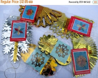 MAY SALE 20% Off 6 Vintage Paper Foil Christmas Ornaments, New-Old Stock Unused Holiday Paper Hangings