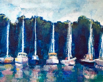 "Sailing ""Joyride 35 Annapolis Boats"" Ships Sunset Shipyard Yacht Club encaustic wax  Painting Impressionist Expressionist"