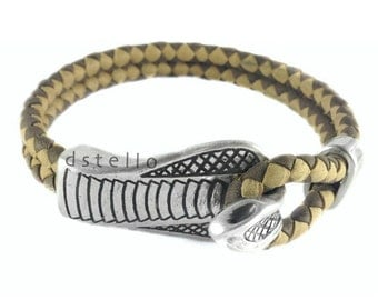 Men's jewelry, Personalized, Snake leather wrap bracelet, Antique silver cobra closure, Spanish braided leather, Handmade