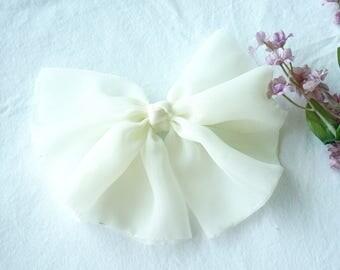 Oversize Chiffon Bow Barrette -Ivory-