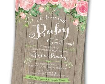 Rose Baby Shower Invitation Boho Baby Shower Floral Baby Shower  5x7 Rustic Chic Baby Shower Shabby Chic Roses Babies Breath