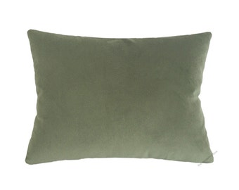 Sage Green Velvet Suede Decorative Throw Pillow Cover / Pillow Case / Cushion Cover / 12x16""