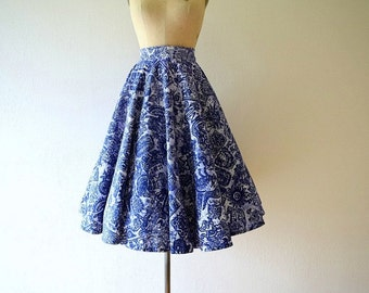 1950s Mexican circle skirt . vintage 50s blue skirt