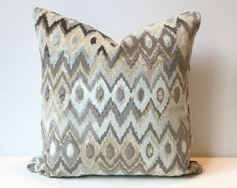 Ikat gray and light blue cut velvet decorative pillow cover, accent pillow