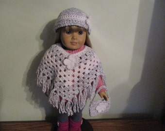 "Hand-Crocheted grey tweed with white accents 3 piece Poncho set with Flower Motifs for 18"" 18 inch Dolls will fit American Girl"