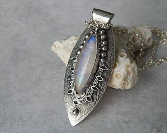 Moonstone Fine Silver Necklace, Unique Art Clay Jewelry, Handmade Artisan Jewelry, PMC Pendant