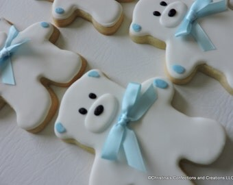Adorable Teddy Bear with Satin bow- Baby Shower cookies (#2447)