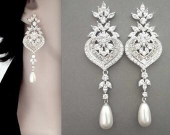 Pearl earrings, Cubic zirconia's, Long, Brides earrings, Pearl drop earrings, Marquise cut, Wedding earrings, Bridal jewelry, LUX, LILLY
