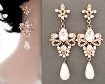 Gold chandelier pearl earrings - Long - Brides earrings ~ Swarovski ~ Crystal earrings ~ Fleur de lis ~ French royalty ~ Wedding earrings