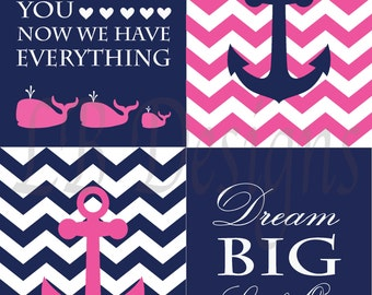 Girl Nautical Nursery Art, Pink and Navy Blue Nursery, Nautical Nursery Decor, Girl Nursery Decor, Girl Whale Nursery Art, Pink Anchor Decor