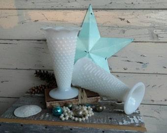 Vintage Milkglass Vases - TWO Vintage Flower Vases, Vintage Organizing, Wedding Decoration, Floral Supplies, 2 Retro Hobnail Vase Collection