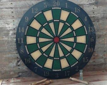 Vintage Dart Board Wall Game - Mid Century Bar Game, White  / Black Wall Art, Home Decor, Drinking Game, Man Cave Decor Fun, Throwing Darts