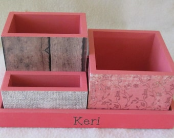 Personalized Desk Organizer - Office or Home Organizer - Pencil Holder Set - wood fence - coral-pink floral, burlap - Gift