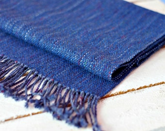 handwoven men scarf blue scarf for him READY TO SHIP