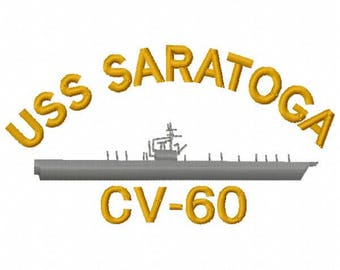 USS Saratoga Military Ship Embroidery Design - Instant Download