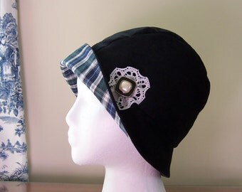 Cloche Style Chemo Hat Women's, Black Corduroy Cotton Lined with Tartan Plaid, Vintage Button Accent, Ships asap, Cancer Patient Gift