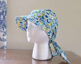 Baseball Style Chemo Cap with Ties in Blue Print Cotton for Women, Easy to Wear, Soft and Comfortable, Ready to Ship, Cancer Patient Gift