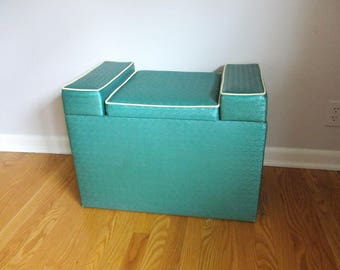 Vintage HASSOCK Storage OTTOMAN Seat, 1950's Mid Century Vanity Chair, TOY Box, Large Chair Bench, Teal Aqua Vinyl Rexair, Folding Out