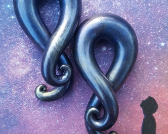 """Cosmic Tendrils. Handmade Polymer Clay Plugs for Stretched Ears  2g 0g 00g 7/16"""" 1/2"""" 9/16"""" 5/8"""" Nickel Free Fake Gauges and 6 - 16 MM also."""