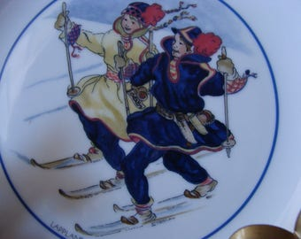 Plate, Collectors Plate From Sweden, Winter Fun, Swedish National Costumes